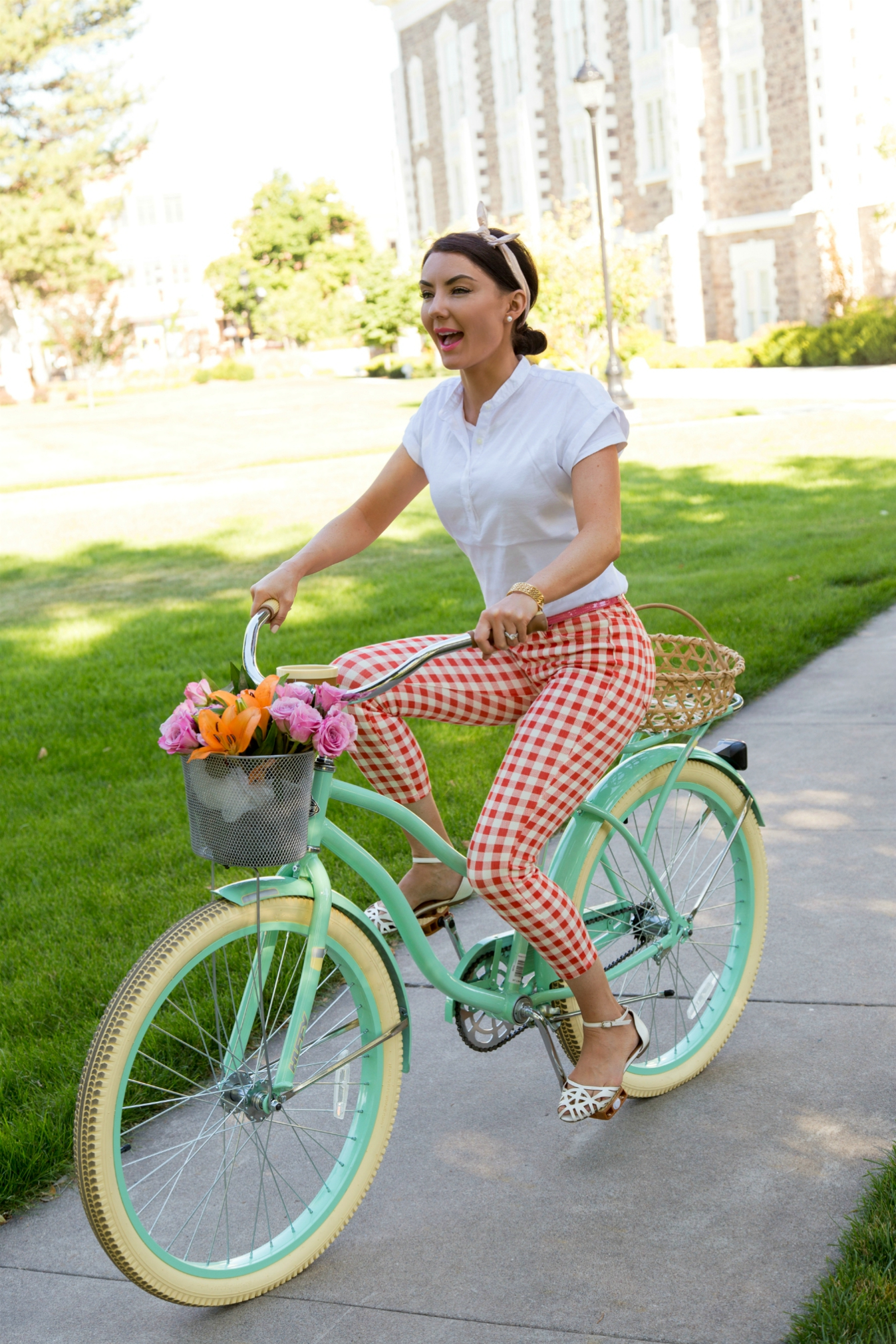 Audrey Hepburn style on a bicycle