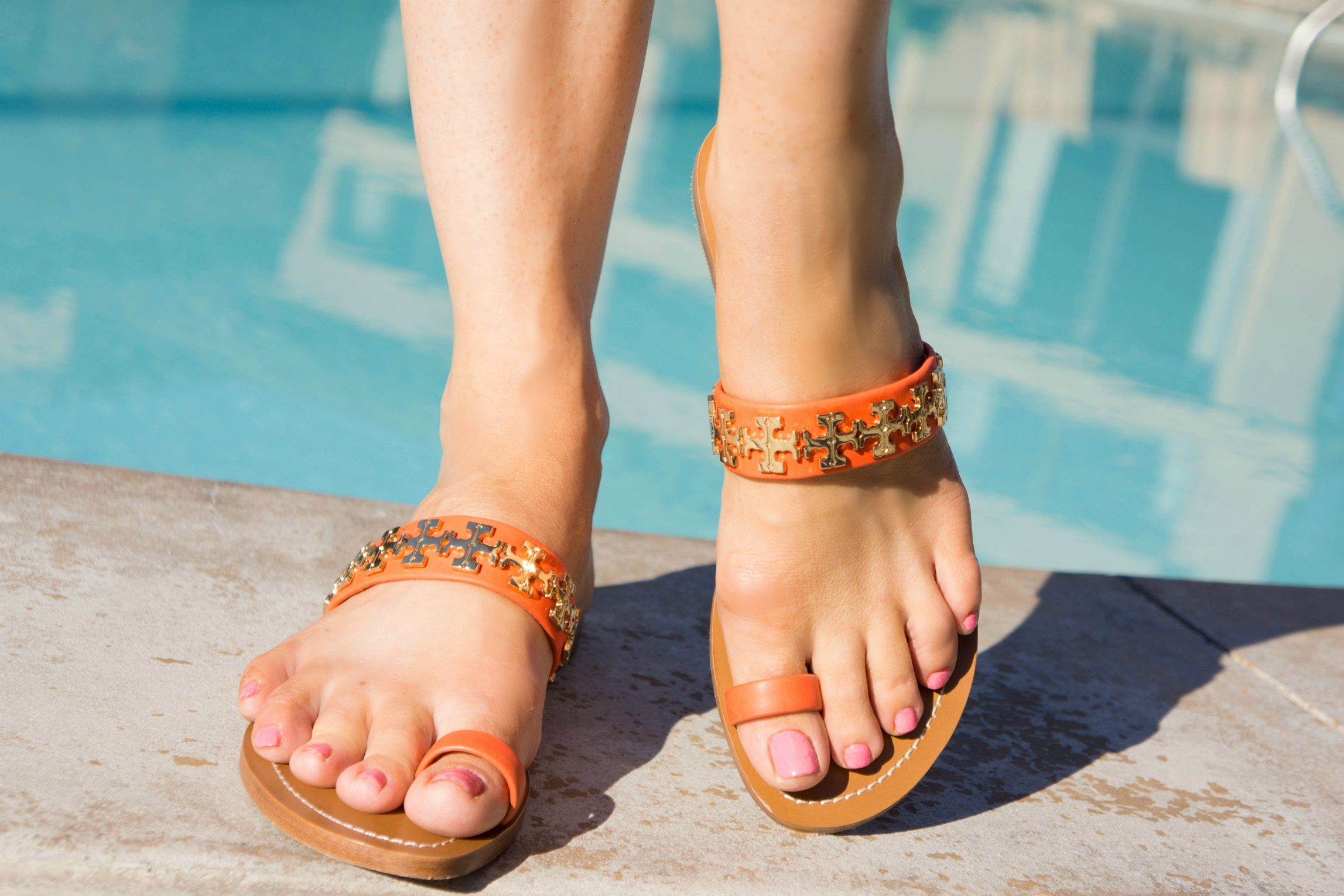 The Sugared Lemon | Tory Burch Orange Summer toe ring sandals
