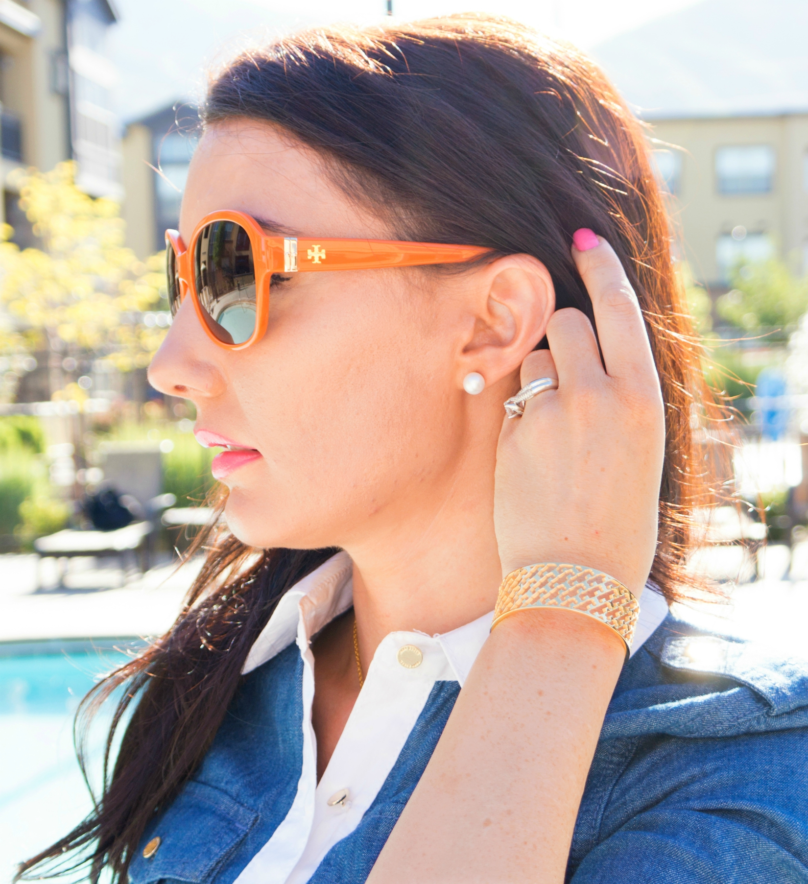 The Sugared Lemon Tory Burch Orange logo sunglasses and summer T gold open cuff bracelet