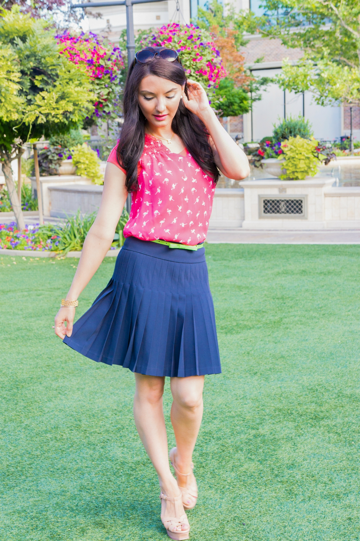 The Sugared Lemon summer chic pink flamingo shirt and pleated skirt