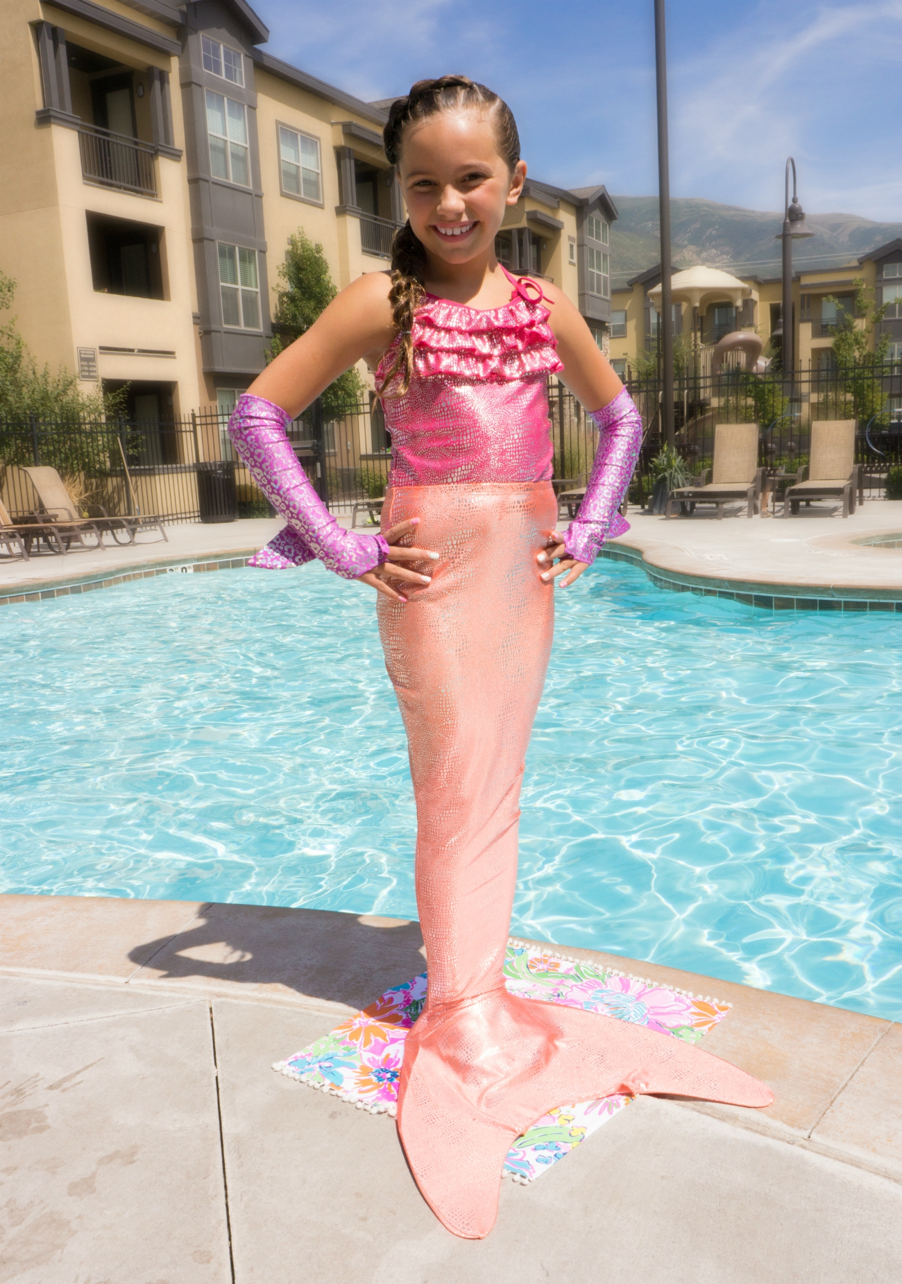 Coral Shimmer Tail Mermaid with purple fins