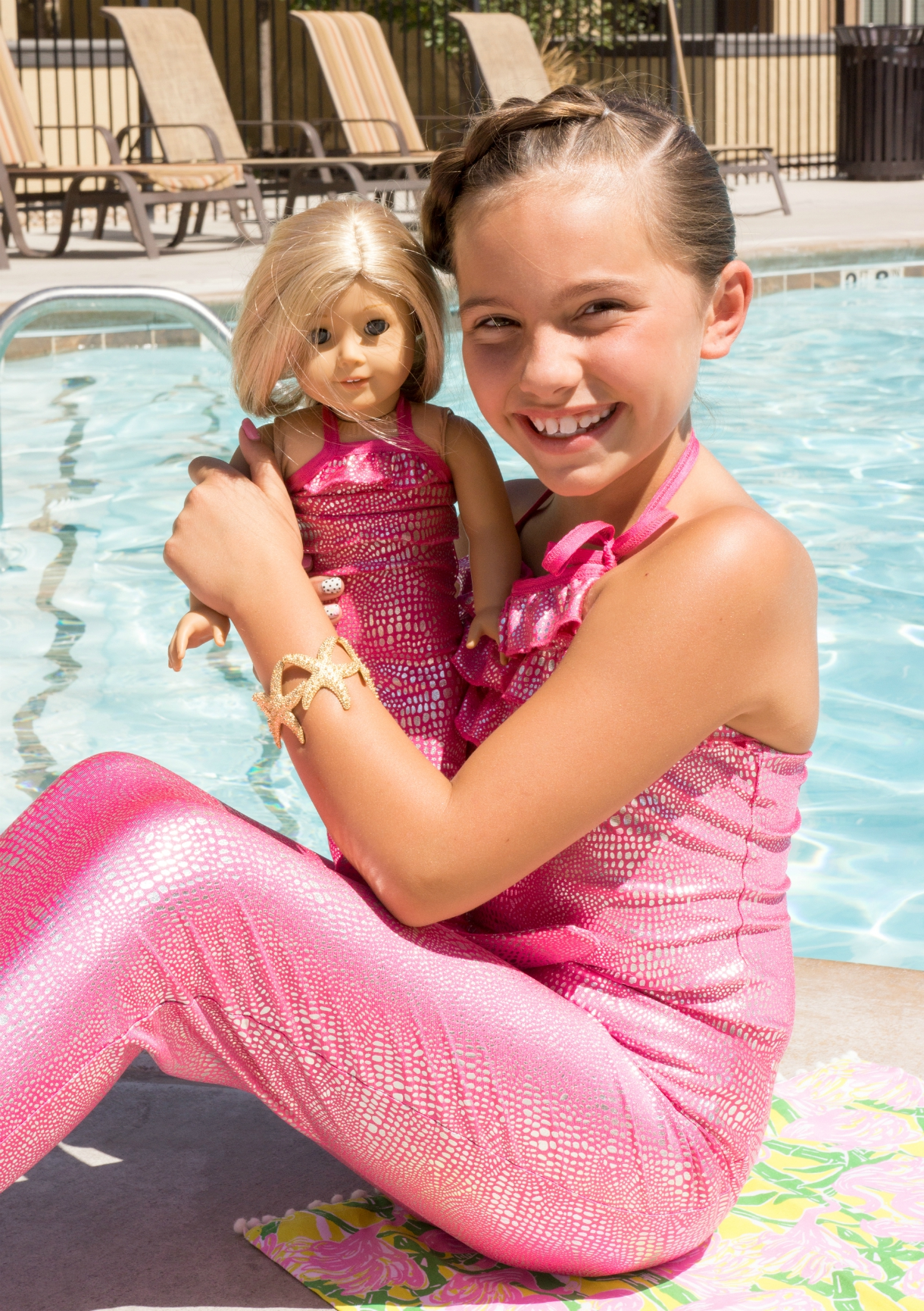 Matching pink Shimmer Tail Mermaid outfit for American Girl Doll