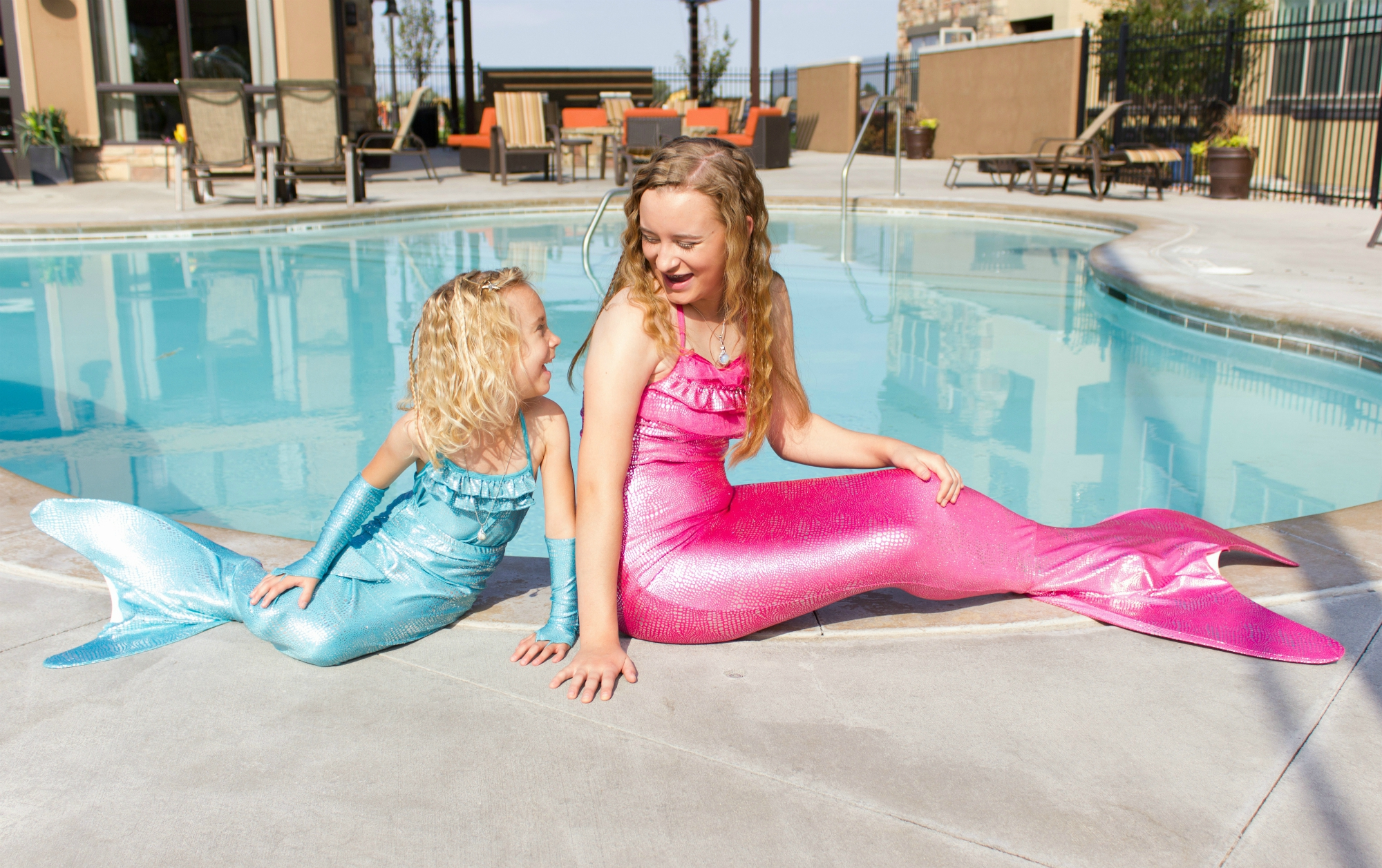 pink and blue Shimmer Tail Mermaid fins