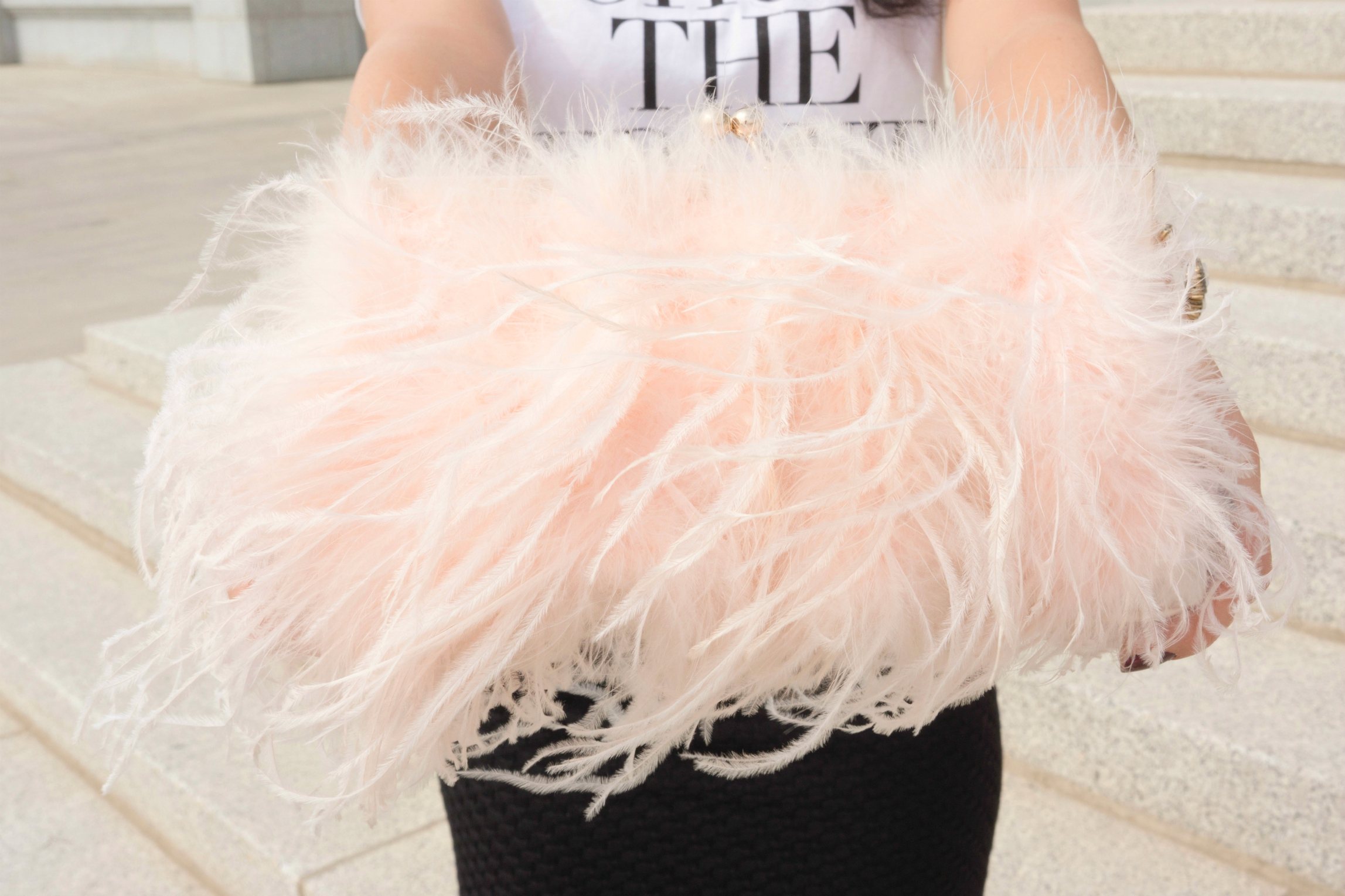 ASOS pink feather glamorous clutch for fall