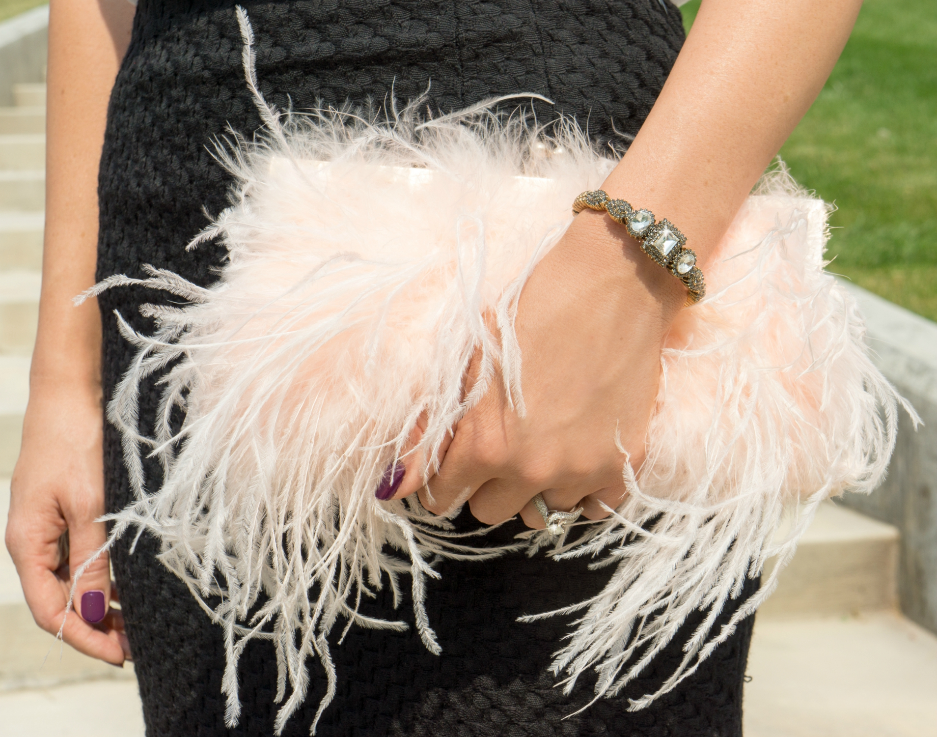 pink feather clutch fall style