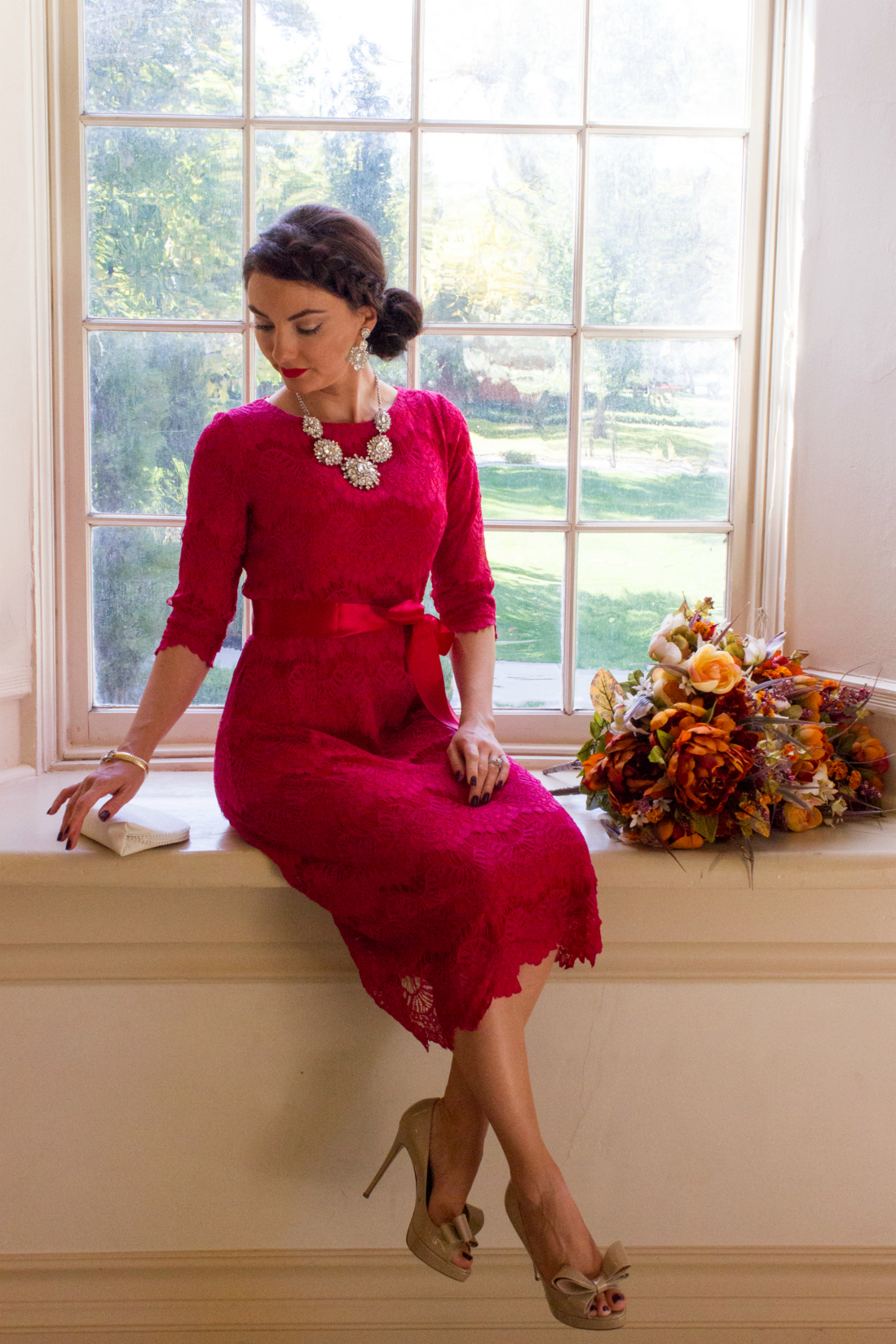 Modest holiday party dress featuring Dainty Jewell's