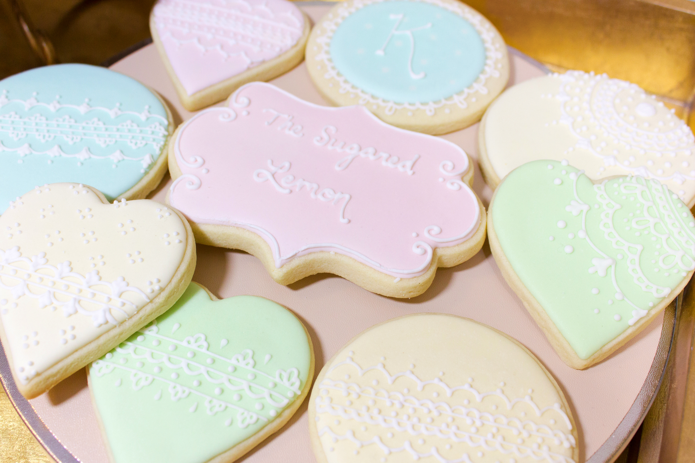 Pastel Laduree inspired lace monogram cookies
