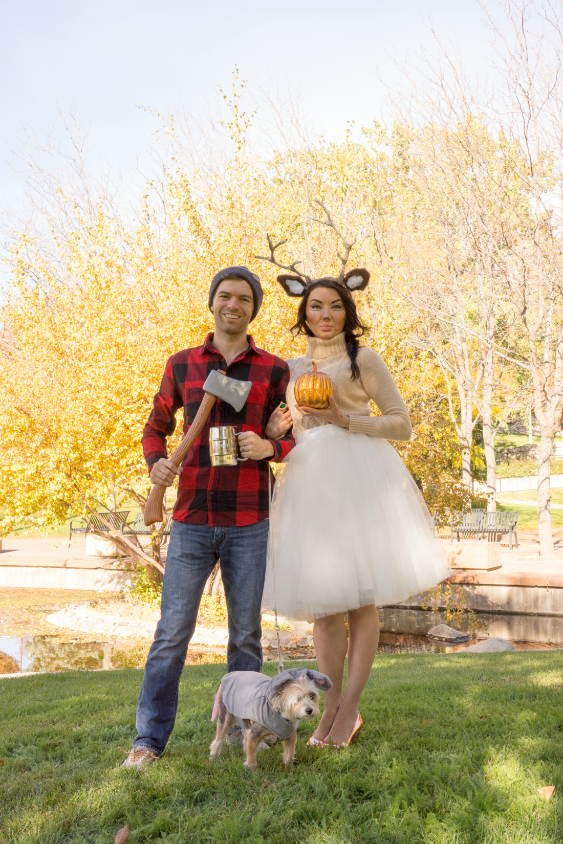 cute woodland female deer and lumberjack halloween costume