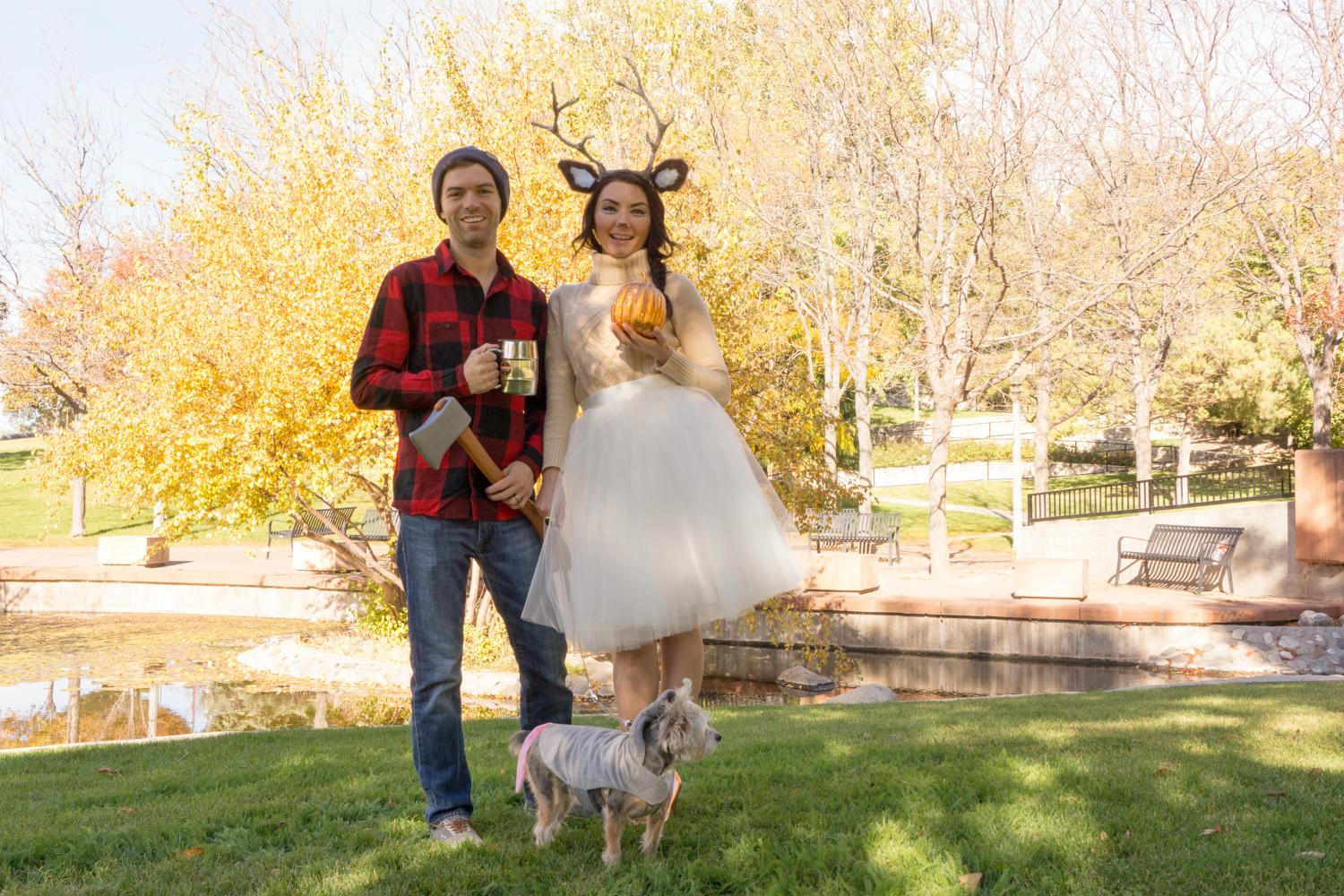 pretty and cute woodland animal deer and lumberjack couples halloween costume