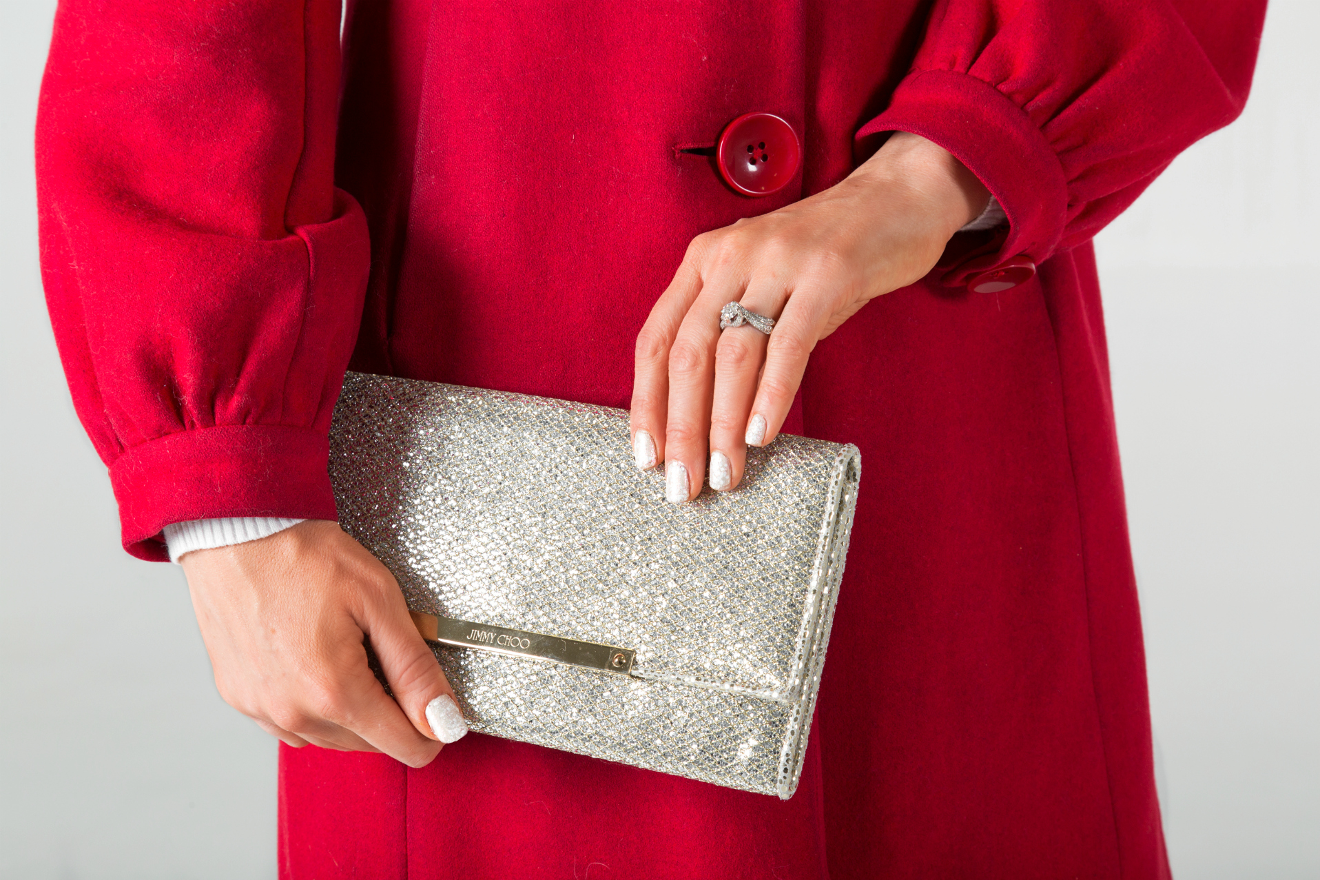 Jimmy Choo champagne glitter Marilyn clutch