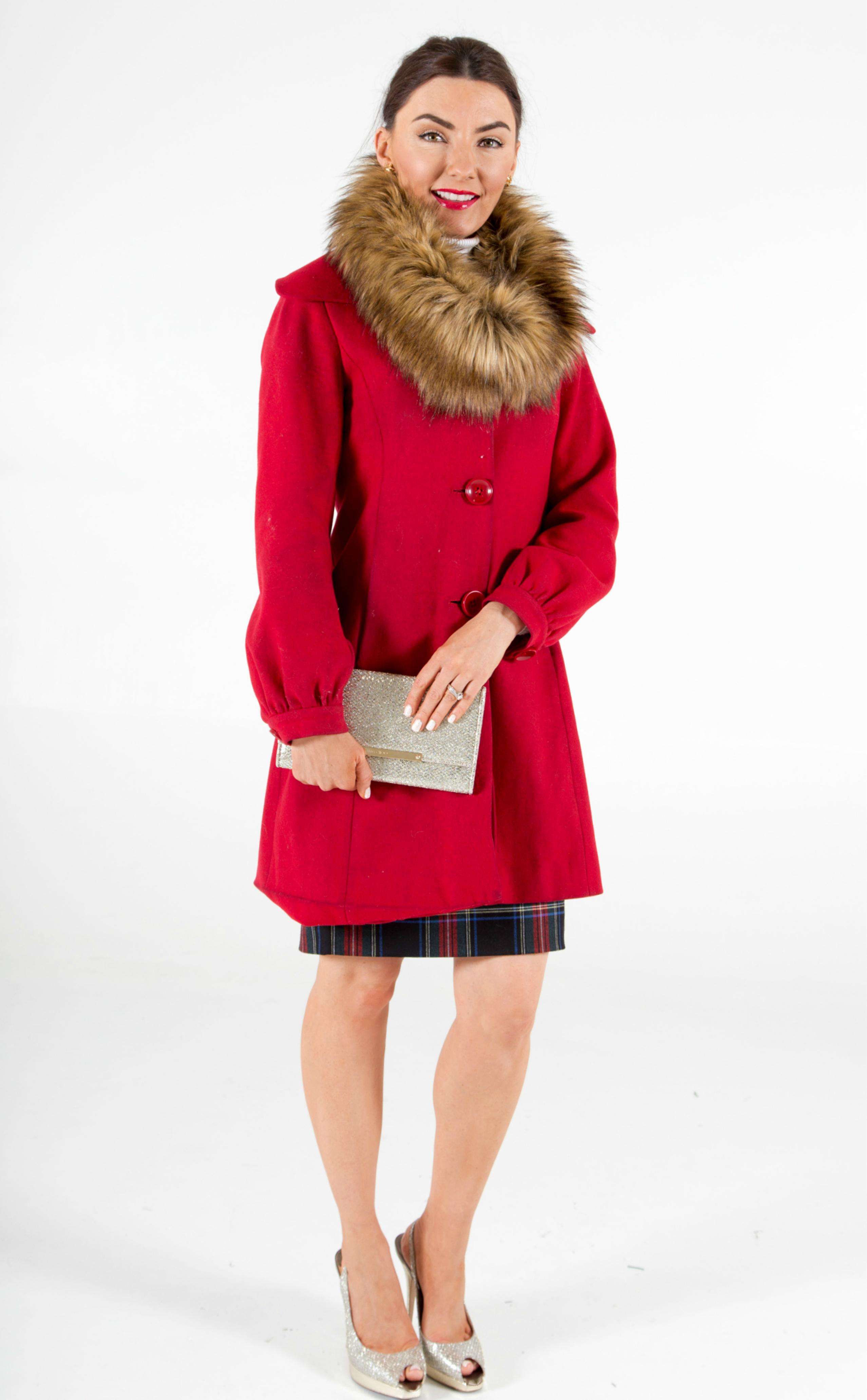 fur trim red holiday coat and Jimmy Choo glitter heels