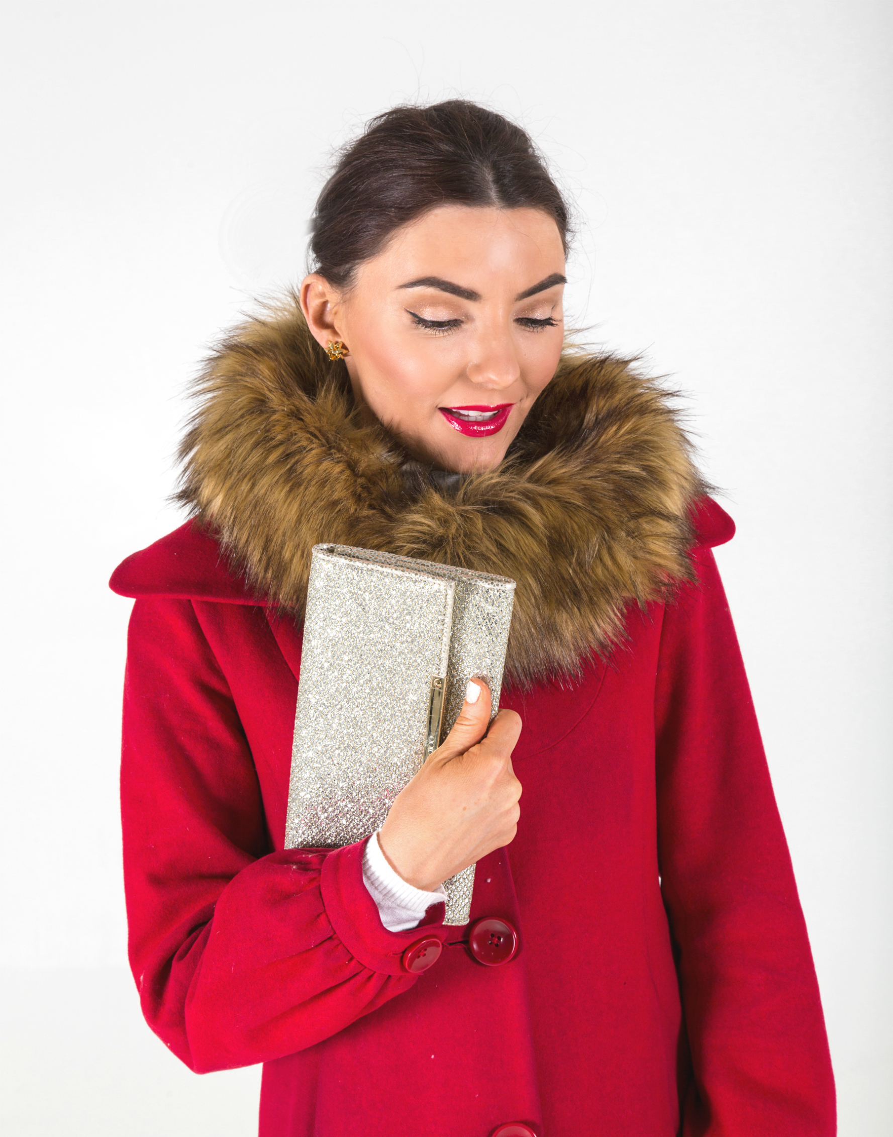 red holiday christmas faux fur trim coat