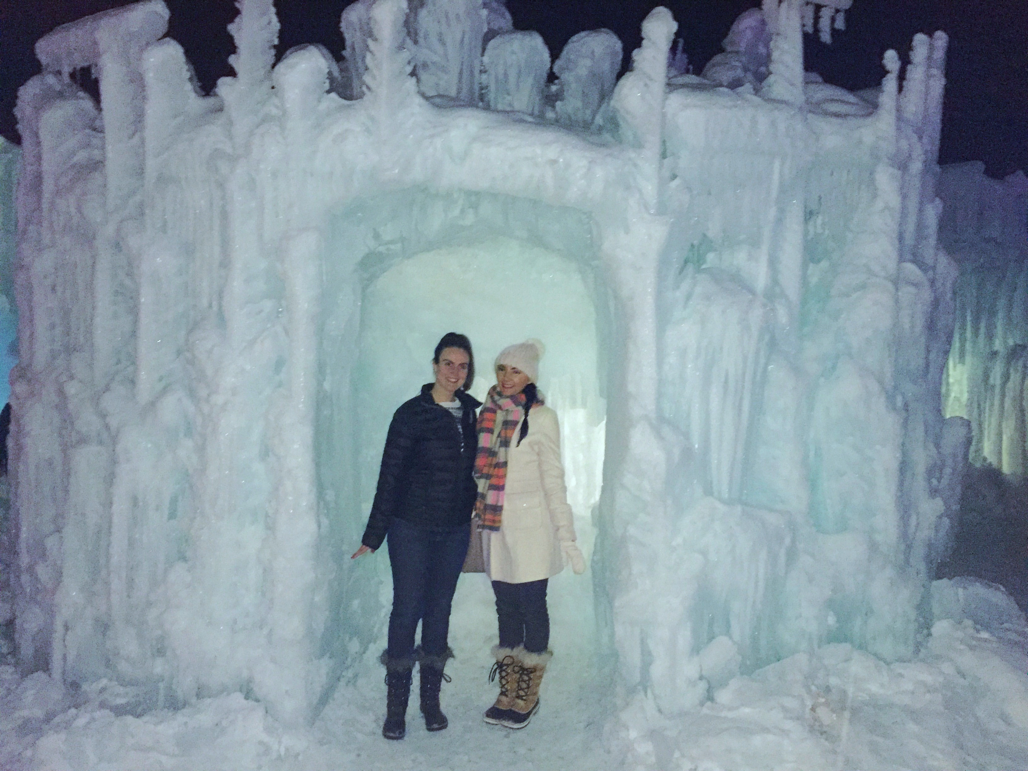 Elsa and anna at the midway ice castles