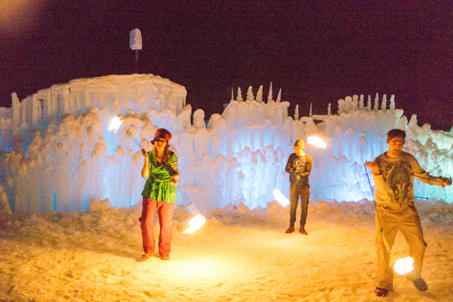 midway ice castle fire