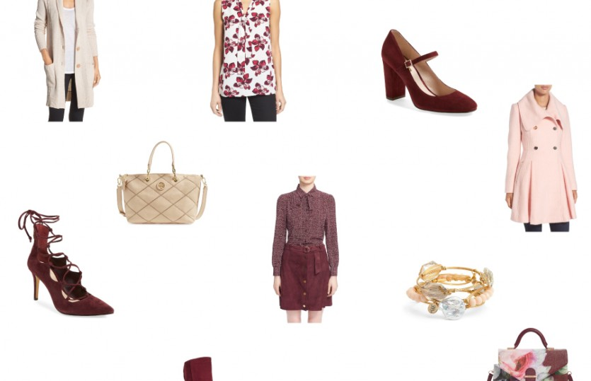 Nordstrom Anniversary Sale 2016 Fall and Winter trends: Maroon, champagne, and pink blush