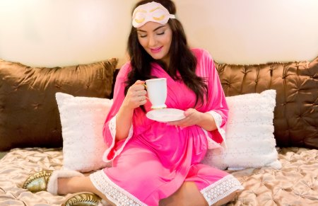 Pink Blush Lace trimmed Maternity Robe